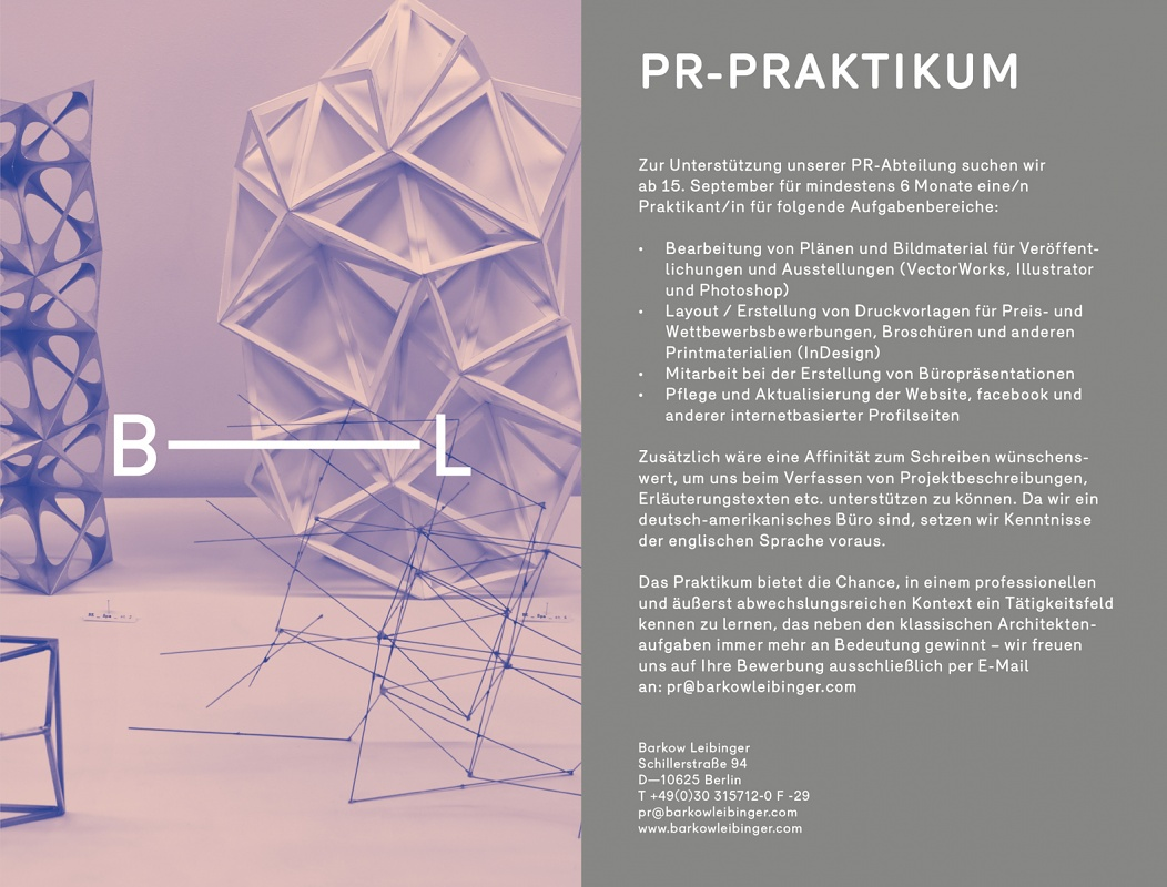Architektur Praktikum Berlin | Barkow Leibinger